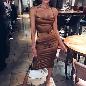 Satin Bodycon Midi Dress